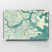 vintage map iPad Cases featuring Boston Map Blue Vintage by City Art Posters
