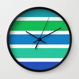 Green and blue stripes Wall Clock