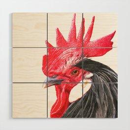 Rooster Portrait Wood Wall Art