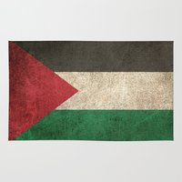 palestine Area & Throw Rugs featuring Old and Worn Distressed Vintage Flag of Palestine by Jeff Bartels