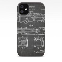 Fire Truck Patent - Aerial Fireman Truck Art - Black Chalkboard iPhone Case