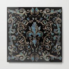 Fleur-de-lis ornament Abalone Shell and Gold Metal Print
