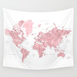 Light pink, muted pink and dusty pink watercolor world map with cities Wall Tapestry
