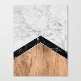 Arrows - White Marble, Black Granite & Wood #585 Canvas Print