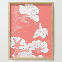 Living Coral japanese Flowers Serving Tray