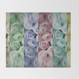 Pastel colors roses pattern Throw Blanket