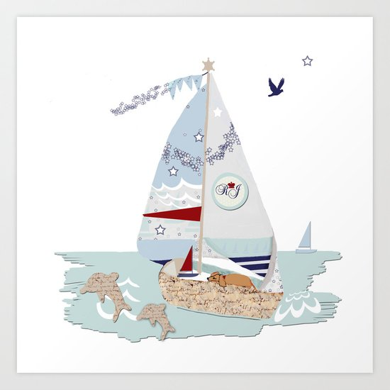 Sailboats and puppies Art Print