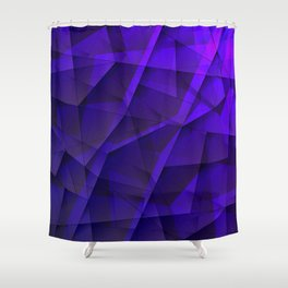 Abstract strict pattern of violet and overlapping fragments and irregularly shaped glass lines. Shower Curtain