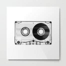 1980's Retro Black-White Vintage 80's Cassette Eighties Technology Art Print Home Decor Wall Decor Metal Print