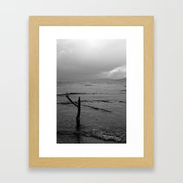 Black and white minimal lakescape Framed Art Print