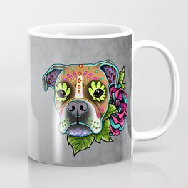 Boxer in White Fawn - Day of the Dead Sugar Skull Dog Coffee Mug