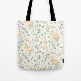 Australian wattle and eucalyptus watercolor floral Tote Bag