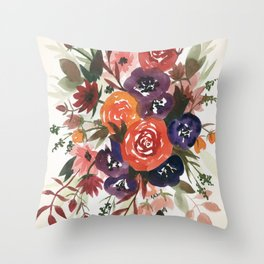 Country Fall Watercolor Bouquet Throw Pillow