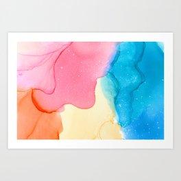 Pink, Blue & Yellow Bright Watercolor Art Print