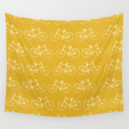 Saffron-Yellow Vintage Bicycle Pattern Wall Tapestry