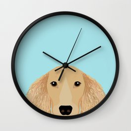 Long Haired Dachshund cream coat cute pet portraits custom dog breed art Wall Clock