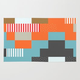 Colorful rectangles with dots Rug