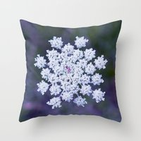 snowflake Throw Pillows featuring Snowflake by The Last Sparrow