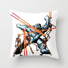 Yeti vs. Laser Skeletons Throw Pillow