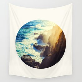 Mid Century Modern Round Circle Photo Graphic Design Blue Waters Rocky Shores With Sunlight Wall Tapestry