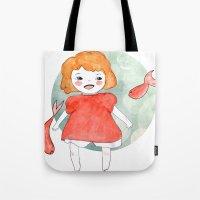 ponyo Tote Bags featuring Ponyo by munieca