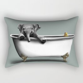 Elephant in Bath Rectangular Pillow
