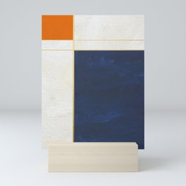 Orange, Blue And White With Golden Lines Abstract Painting Mini Art Print