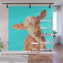 Baby Cow Turquoise Background Wall Mural