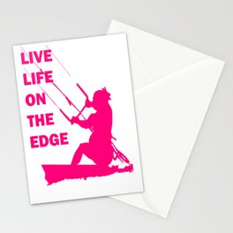 Live Life On The Edge Neon Pink Kitebeach Stationery Cards