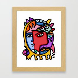 Metamorphosis Street Art Joyful Portrait Multicolor  Framed Art Print
