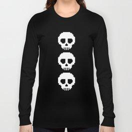 Pixel Skulls - Black Long Sleeve T-shirt
