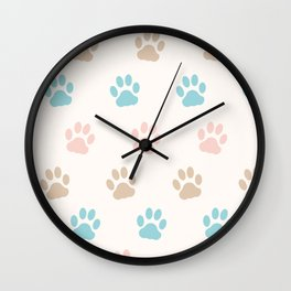 Cute Cat Paw Print Pattern – Pink Blue Brown and Cream Wall Clock