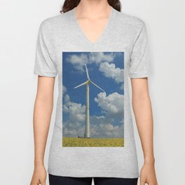 Wind Turbine Windmill in the Landscape with Yellow Colza Field and Blue Sky Unisex V-Neck