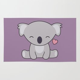 Kawaii Cute Koala Bear With Heart Rug