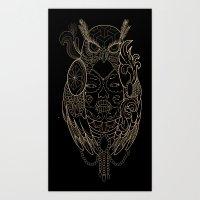 Lady of owls.  Art Print