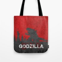 godzilla Tote Bags featuring Godzilla by WatercolorGirlArt