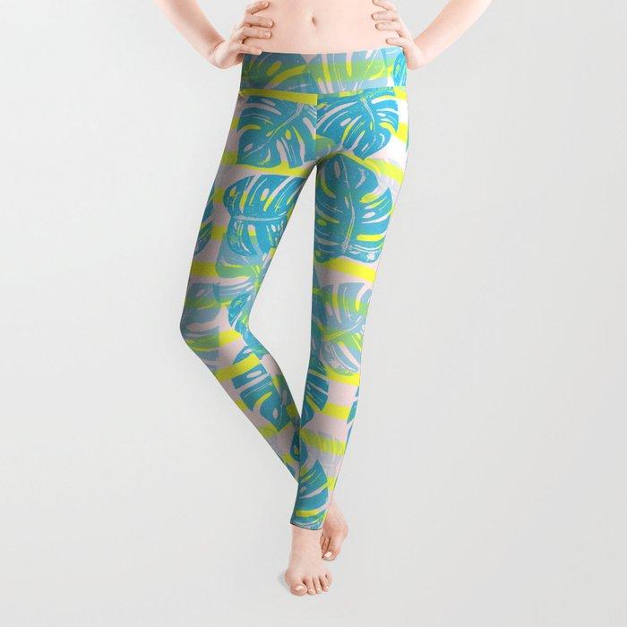 Linocut Monstera Neon Leggings