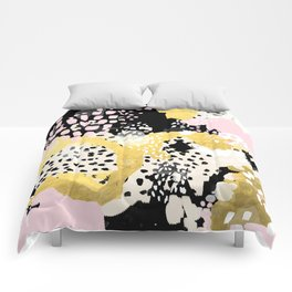 Simone - abstract painting gold foil trendy hipster pastel pink modern trendy colors decor college Comforters