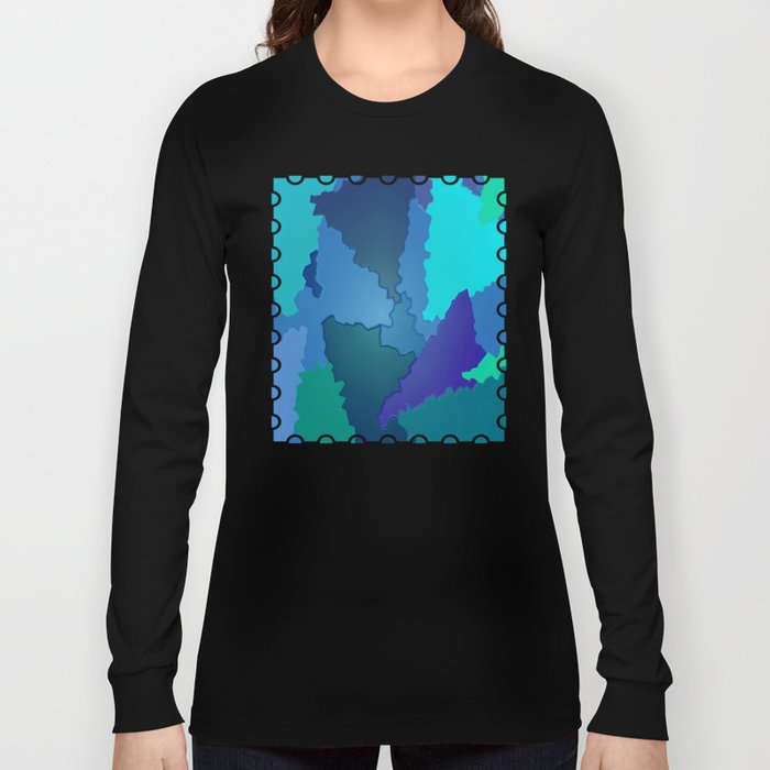 Blues and Greens Puzzle Patchwork Long Sleeve T-shirt