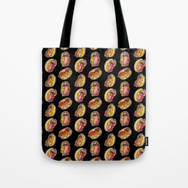 Fast Food! Jumping Hot Dogs Pattern Tote Bag