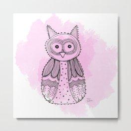 Pink Owl Metal Print