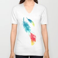 nursery V-neck T-shirts featuring Feather by Freeminds
