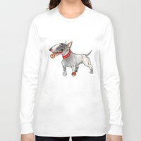 bull terrier Long Sleeve T-shirts featuring Bull Terrier by Paola Canti