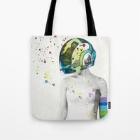 robot Tote Bags featuring Robot Rock #2 by Jenny Liz Rome