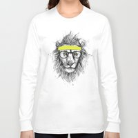 lion Long Sleeve T-shirts featuring hipster lion by Balazs Solti