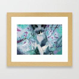Nestled Kitten in Comforter Cloud Framed Art Print