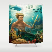 aquaman Shower Curtains featuring Aquaman Black Lagoon (Dark Water Version)  by Brian Hollins art