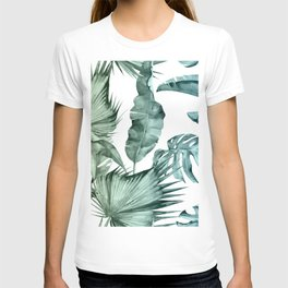 Tropical Palm Leaves Turquoise Green Blue Gradient T-shirt
