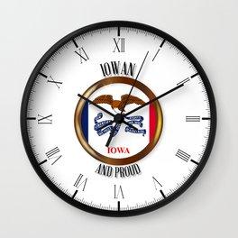Iowa Proud Flag Button Wall Clock