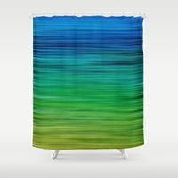 will graham Shower Curtains featuring SEA BLUES by Catspaws
